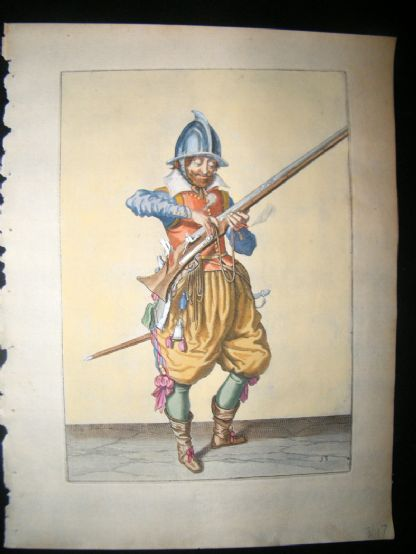 Jacob de Gheyn 1608 Fine Hand Coloured Musketeer Print -13 | Albion Prints